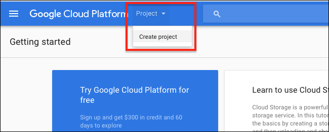 cloud-console-create-project